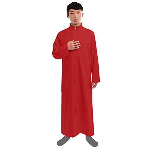 Liturgical Vestments (BLESSUME Red Roman Cassock Robe Liturgical Vestments)
