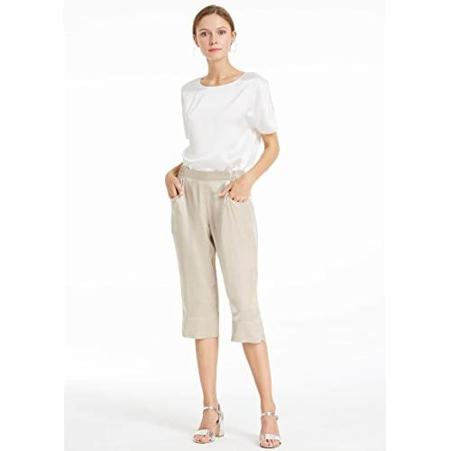 LilySilk Silk Pants For Women Mulberry 22MM Feminine Elastic Waist Flat  Front Cropped Length Trousers free e44b225a100f