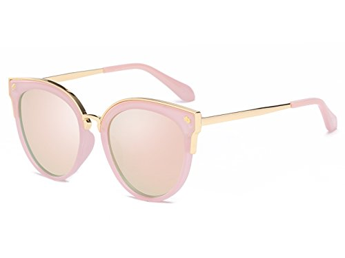 Bevi Women's Fashion Polarized Cat Eye Polycarbonate Metal Sunglasses 0932C5PKPK by Bevi