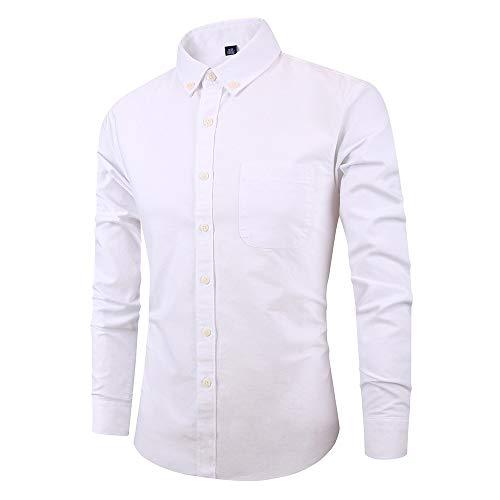 Men's Dress Shirt Slim Fit Non Iron Stretch Solid Non Iron Regular Fit Gingham Buttondown Collar Dress Shirt White