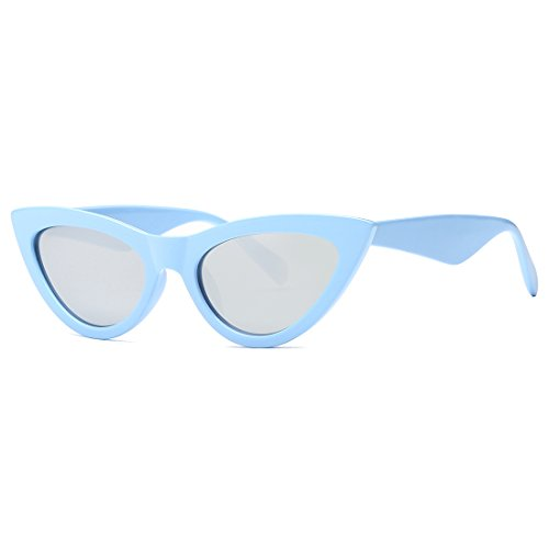 AEVOGUE Womens Sunglasses Cat Eye Vintage Mirrored Lens Plastic Frame UV400 (Light blue&Silver, as picture shows)