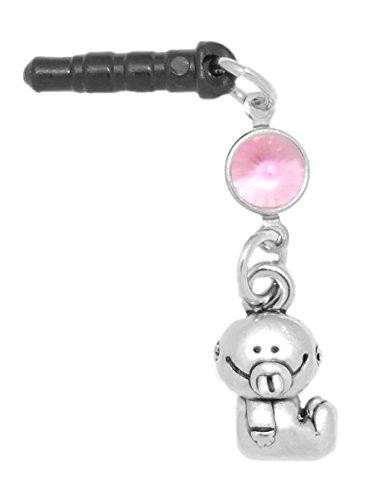 (Clayvision Baby Girl or Boy Phone Charm Rose Colored Crystal October Black Plug )
