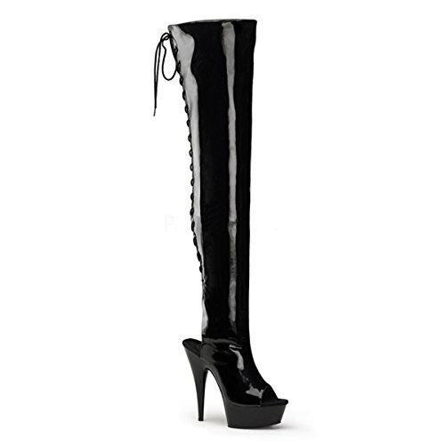 GaoXiao 15 cm high Heels Stiefel Längen Zylinder Stiefel schwarz Gurt Knie stahlrohr tanzen