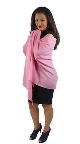 Cashmere Pashmina Group:Pashmina Scarf/Shawl(3-Ply Solid Light Pink Regular Shawl) by Cashmere Pashmina Group