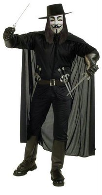 [V For Vendetta Costume Adult X-Large 44-46 Halloween 2011] (Deluxe Beetlejuice Adult Halloween Costumes)