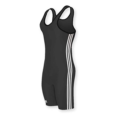 adidas Wrestling 3 Stripes Singlet - Black/White - Medium