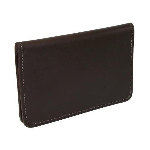 CTM® Unisex Leather Top Stub Checkbook Cover Brown