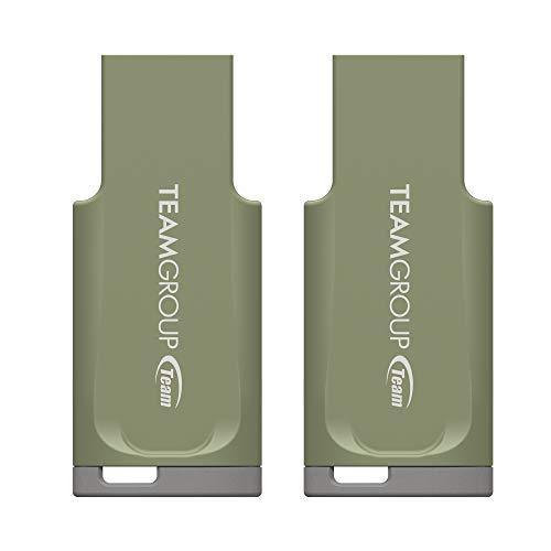 TEAMGROUP C201 64GB 2 Pack USB 3.2 Gen 1 (3.1/3.0) USB Flash Drive (Matcha Green), Read up to 90MB/s, External Storage Thumb Drive Memory Stick