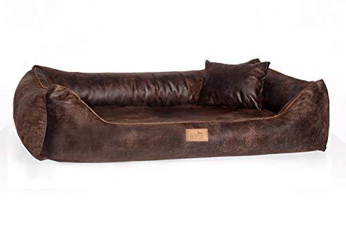 01 Brown tierlando Orthopedic Dog Bed Alberto Vintage Velour Washable Vintage Antique Style 01 Brown, AB3   80x60 cm (Innen 50x35 cm)