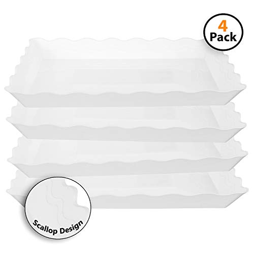Catering Serving Trays - 4 Pack Rectangular Plastic Trays, Heavyweight Disposable Serving Party Platters, 9