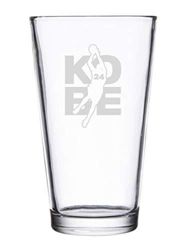 Basketball Sports Athletic Player Custom – Laser Engraved Pint Glass for Beer, 16 oz Stein (Kobe #24)