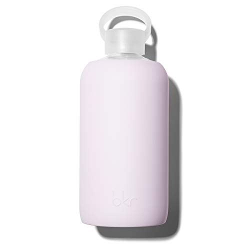 bkr Lala Glass Water Bottle with Smooth Silicone Sleeve for Travel, Narrow Mouth, BPA-Free & Dishwasher Safe, Opaque Lavender Fog, 32 oz / 1 Liter