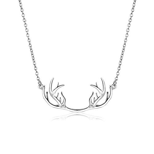 Easy Buy Global Company Silver Plated Deer Antler Necklace for Men and Women with Gift Box Perfect for Christmas ()
