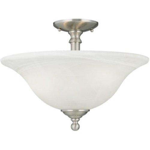 Thomas Lighting SL8696-78 Riva Three-Light Semi-Flushmount Brushed Nickel Finish with Etched Alabaster Style Glass
