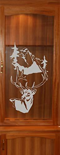 - StickerChef Deer Buck Mountains DIY Etched Glass Vinyl Gun Cabinet Window Front Door GC06B