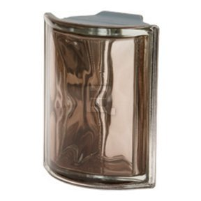 Quality Glass Block 3.25 x 7.5 x 3 Pegasus Metalized Corner Rounded Tortora Wave Glass Block