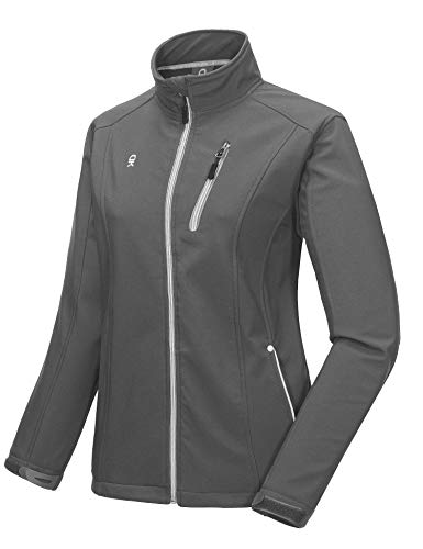 (Little Donkey Andy Women's Softshell Jacket, Fleece Lined and Water Repellent Gray Size XS )