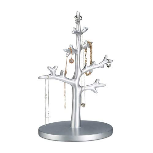 Jewelry Treestand - Relaxdays Jewelry Tree for Bracelets, Earrings, Decorative Necklace Holder for Women, Jewelry Display Stand 32 cm, Silver