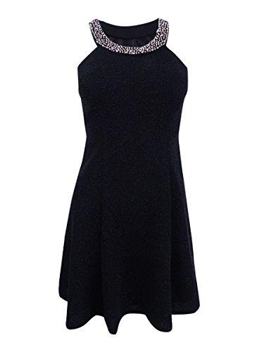 Betsy & Adam Women's Beaded Glittered Halter Dress (2P, Black)