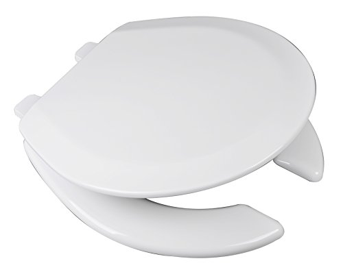 Bath Décor 1F1R4-00 Deluxe Molded Wood Round Toilet Seat with Adjustable Hinge, White