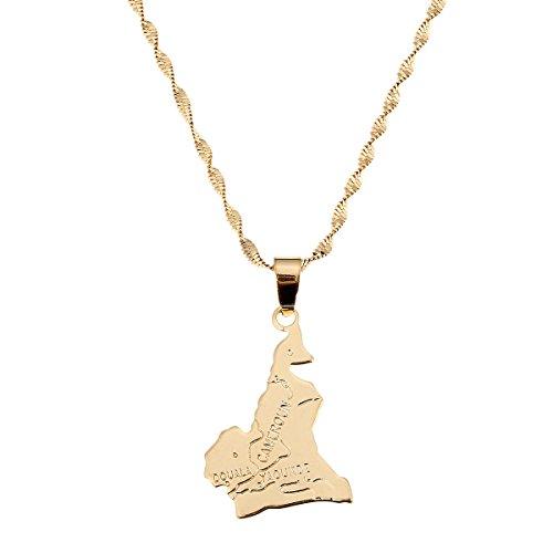 République du Cameroun Map Pendant Necklace Douala Yaounde Africa Jewelry Cameroon Map Necklaces