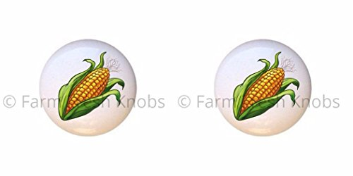 SET OF 2 KNOBS - Ear of Corn on the Cob - Food and Drink - DECORATIVE Glossy CERAMIC Cupboard Cabinet PULLS Dresser Drawer KNOBS ()