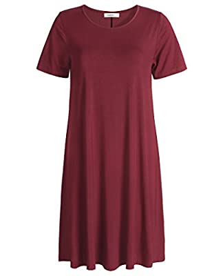 Esenchel Women's Swing T-Shirt Dress Short Sleeve Casual Dress