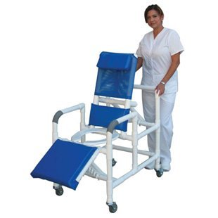 MJM PVC 193 Medical Reclining Rolling Shower Commode