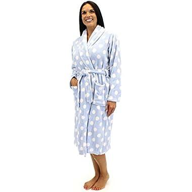PajamaMania Women's Fleece Robe (Blue Polka Dot - Med)