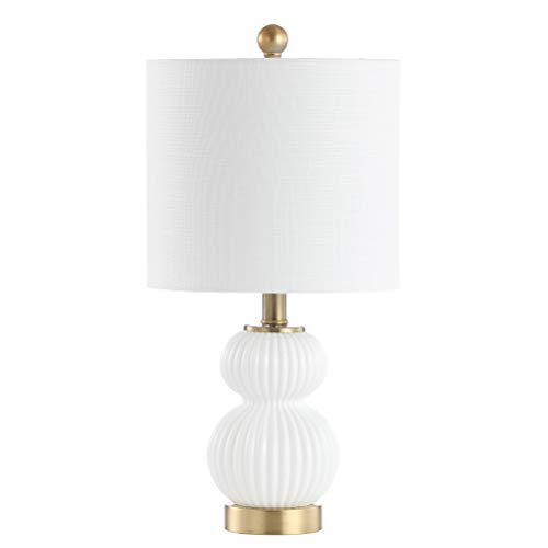 "JONATHAN Y Daphne 20"" Ribbed Metal/Glass LED Table Lamp, White/Brass"