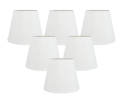 Torpedo Mini Pendant Lamp - Meriville Set of 6 Off White Faux Silk Clip On Chandelier Lamp Shades, 4-inch by 6-inch by 5-inch