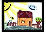 RAS Kids Art Frame - Boxed Style Wide Frame Edge Construction Paper Removable Acrylic Pane Cardboard Backing with Hooks - [Black - 9x12'']