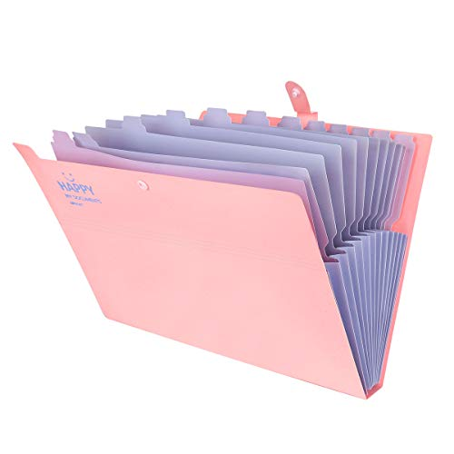 Yigou Expanding File Folders 12 Pockets Accordion File Folder A4 and Letter Size Paper Document Organizer Folders for School Office (Pink)