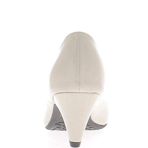 Vernice beige classico pompe tacco 6cm rotondo suggerimenti