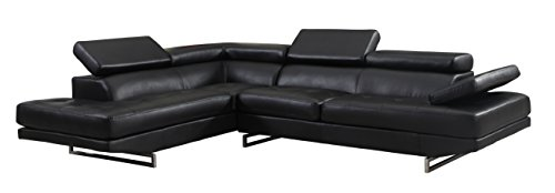Blackjack Furniture 8136-BLACK-RAF Sectional Leather Match Right-Facing Sectional, Black , 1 Piece