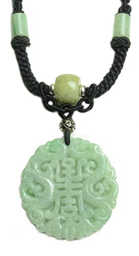Imperial Twin Dragon Grade A Green Jade Amulet Fortune Script Necklace-Fortune Jade ()