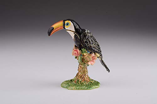 Keren Kopal Toucan Bird Trinket Box Decorated with Swarovski Crystals Unique Handmade Gift BR1928