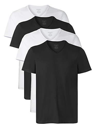 DAVID ARCHY Mens 3 Pack Supima Cotton Underwear Soft Comfy V-Neck Undershirts S, Black