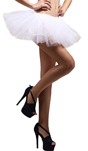 xiaoming Lace Clubwear Organza Lady Layered Tutu Ballet Petti Mini White One (Red Skirt Target)