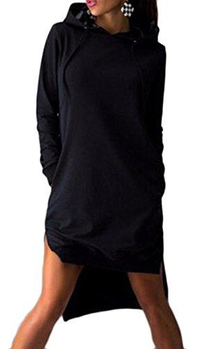 Drawstring Pure Sweatshirt Women Coolred Color Hem Low High Dress Black HnBnP6T