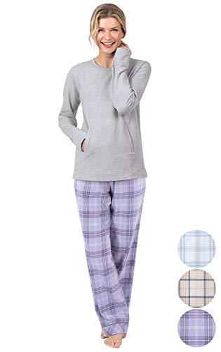 - Addison Meadow Flannel Pajamas Women - Pajama Set for Women, Lavender, M, 8-10