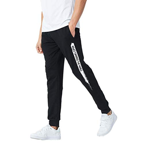 Realdo Clearance Mens Casual Slim Personality Solid Elastic Letter Sports Run Jogger Pants Trousers(X-Large,Black) by Realdo (Image #7)