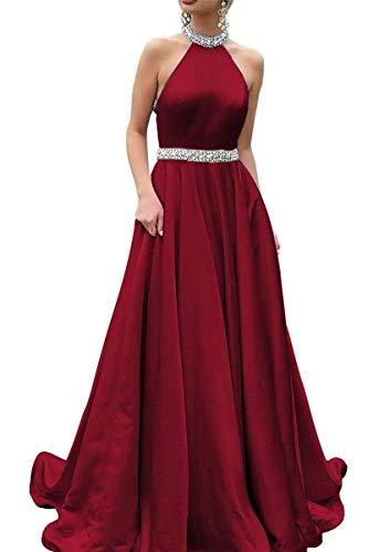 - LORIE Prom Dresses Backless Halter Neckline Rhinestone Beaded Formal Satin Evening Ball Gowns Burgundy