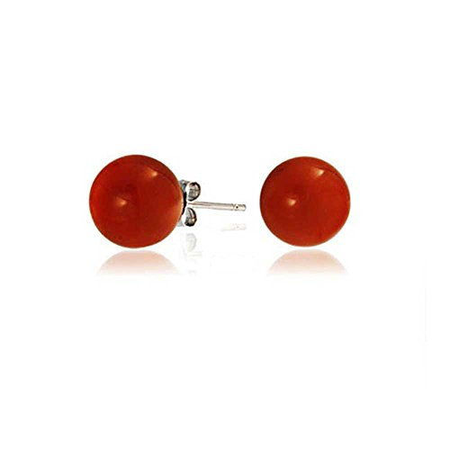 Simple Dyed Red Natural Coral Ball Round Stud Earrings For Women 925 Sterling Silver 6MM ()