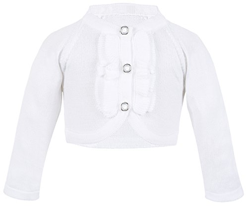 Lilax Baby Girls' Knit Long Sleeve Button Closure Ruffle Bolero Cardigan Shrug 12-18 Months (Infant Bright White Apparel)