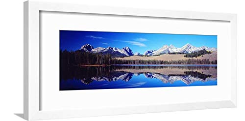 ArtEdge Little Redfish Lake Mountains Id USA White Wall Art Framed Print, 8x24, Soft Mat (Framed Redfish)