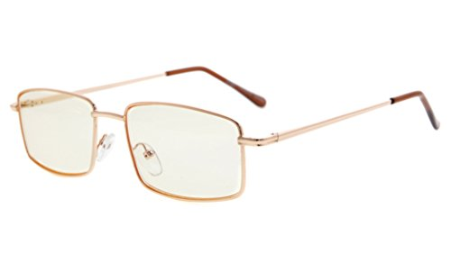 - Eyekepper Spring Hinges Anti-Blue Ray/Anti-Strain Computer Reading Glasses (Gold/Amber Tinted Lens, 1.50)