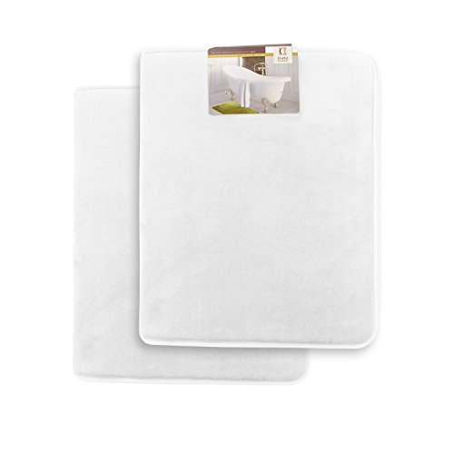 Clara Clark Memory Foam Bathrug 2 Pack Set – White – Bath Mat and Shower Rug Small 17″ x 24″ Inches, Non Slip Latex Free Plush Microfiber. Comfortable, Beautiful and Maximum Absorbency.