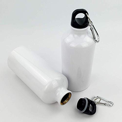 (Intbuying 5pcs Blank Coated 600ml Aluminium Water Bottle for Sublimation Heat Press Transfer Printing Crafts)