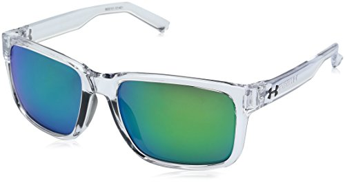 - Under Armour UA Assist Square Sunglasses, UA Assist Shiny Crystal Clear / Frosted Clear Frame / Gray / Green Multiflection Lens, M/L